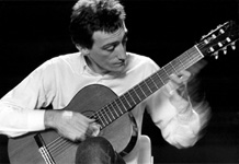Performing on classical guitar, Los Angeles, 1984