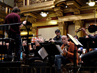 Rehearsing with Theodosii Spassov, Vlatko Stefanovski and Tonkünstler Orchestra under the direction of Kristjan Järvi, Vienna, Mar. 2009